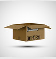 icon open cardboard box cargo delivery vector image