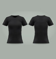 isolated black t shirt for woman front back view vector image vector image