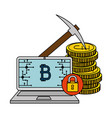 laptop computer with bitcoin commerce vector image vector image