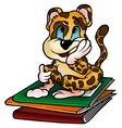 Leopard and Workbooks vector image vector image
