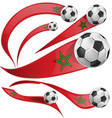 marocco flag set with soccer ball vector image vector image