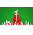 merry christmas card papercut forest and gift box vector image