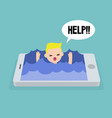 mobile addiction concept young blond boy drowning vector image vector image