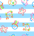 Neon sea life on stripes vector image vector image