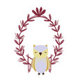 owl with leaves vector image