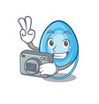 photographer oxygen mask mascot cartoon vector image
