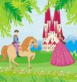 Prince riding a horse to the princess vector image