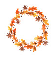 printoak leaf and star anrise wreath watercolor vector image