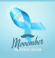 prostate cancer awareness blue ribbon background vector image
