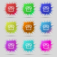 retro telephone handset icon sign A set of nine vector image vector image