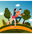 running couple people run in a park man and vector image vector image