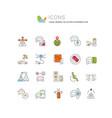 set line icons autonomous car vector image