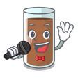 singing fresh chocolate splash on pouring mascot vector image vector image