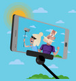 smiling old couple doing selfie vector image