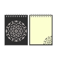 Spiral black cover notebook with round ornate vector image vector image