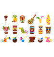 symbols of hawaii set tiki tribal masks tropical vector image
