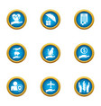 tone icons set flat style vector image vector image