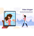 video blogger live stream poster template vector image vector image