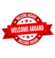 Welcome aboard ribbon welcome aboard round red