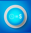 white time is money sign on blue background vector image vector image