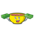 with money bag soup union mascot cartoon vector image vector image
