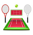 tennis court set isolated on white vector image