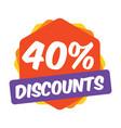 40 off discount promotion sale sale promo market vector image