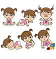 baby girl set in different poses vector image vector image