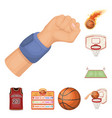 basketball and attributes cartoon icons in set vector image vector image