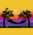 beautiful sunset sunrise with palm trees vector image
