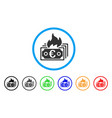 burn euro banknotes rounded icon vector image vector image
