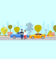 car accident crash on road driver with police vector image