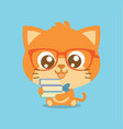character cat with book cartoon vector image vector image