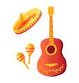 cinco de mayo acoustic guitar and sombrero hat vector image