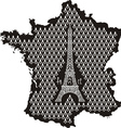 Contour of France with Eiffel Tower vector image