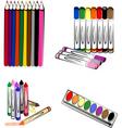 crayons markers pencils vector image vector image