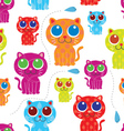 cute cat seamless pattern vector image