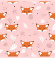 cute fox with leaves decoration seamless pattern vector image vector image
