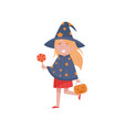 cute little girl dressed as a witch walking with a vector image