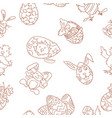 easter seamless pattern doodles bunnies ornament vector image