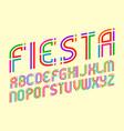 fiesta alphabet colorful festive letters font vector image vector image