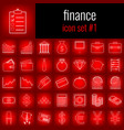 finance icon set 1 white line icon on red vector image