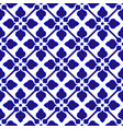 floral pattern blue and white vector image vector image