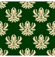 Green and beige seamless arabesque pattern vector image