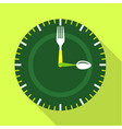 green clock face icon flat style vector image