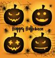 halloween pumpkins background vector image vector image