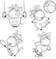 Happy cows Clip-Art Coloring book vector image
