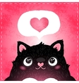 Happy Valentines day card with cat and heart vector image