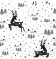 hipster animal seamless pattern black deer vector image