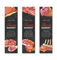 meat product vertical banner set on white vector image vector image
